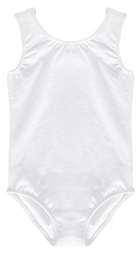 [Dancina Leotard Tank Top Baby Girls Toddlers Ultra Soft Lined Unitard Costume Accessory 2T White] (White Leotard Halloween Costume)