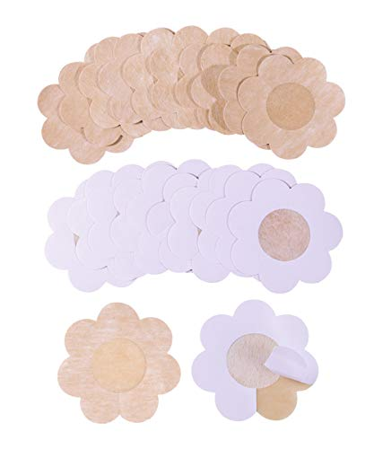 Breast Petals Disposable Anti-allergy 10 Pair Pasties for Women Sexy Ultra Thin Breathable Smooth Nipple Covers Pasties Suitable for All Size(Natural Silk)