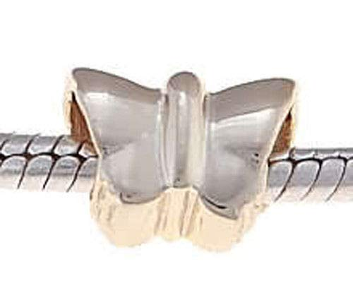 Sterling Silver Butterfly Vermeil (Gold Plated) Bead FITS All European Bracelets Jewelry Making Supply Pendant Bracelet DIY Crafting by Wholesale Charms