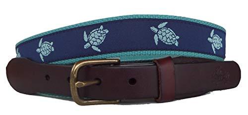 - No27 Mens Sea Turtle Leather Belt, Leather Tab and Buckle, Sea Turtle Teal and Navy Leather Belt