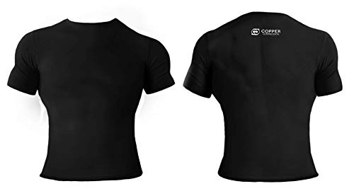 Copper Compression Short Sleeve Mens Recovery T Shirt. Highest Copper Content Guaranteed. Support Sore & Stiff Muscles & Joints. Best Compression Fit T-Shirt Running, Basketball, Sports Wear (XL)