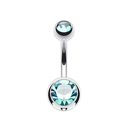 (14g Double Gem Ball Belly Button Ring Grade 23 Solid Titanium 5/16