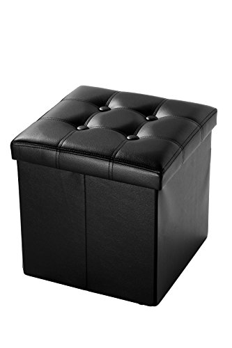 Faux Leather Cube Folding Storage Ottoman With Tufted Design 15 Inches, Black by Juvale