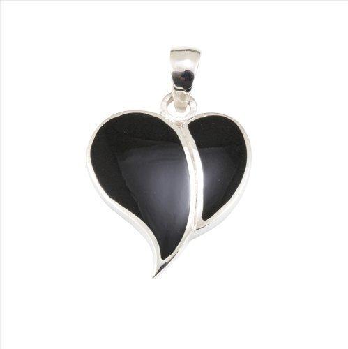 Pendentif coeur en onyx et argent 925