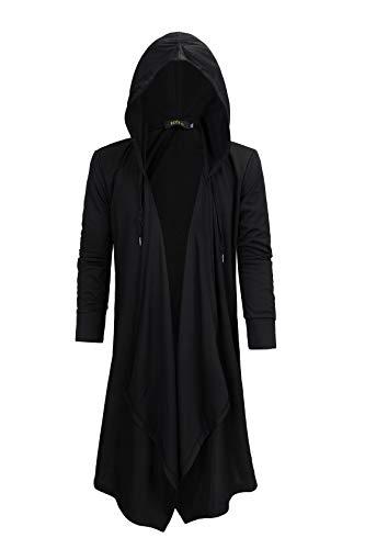 - HZTG Mens Black Fashion Casual Long Hoodies Irregular Hem Cardigan Sweater (US XL/Asian 3XL)