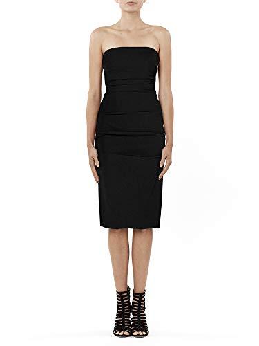 - Nicole Miller Women's Techy Crepe Tuck Strapless Dress, Black, 8