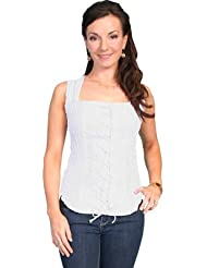 Scully Womens Peruvian Cotton Laced Tank Top - Psl-058 WH