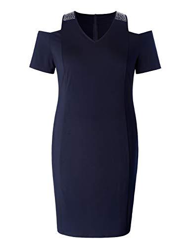 Beaded Sheath - Chicwe Women's Plus Size Stretch Beaded Strap Cold Shoulder Sparkle Sheath Dress V Neckline Marine Blue 3X