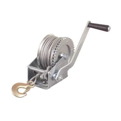 - 2000lb 1 Ton Hand Crank Steel Gear Cable Wire Winch Boat ATV Trailer W/hook