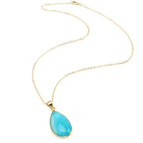 BOUTIQUELOVIN 14K Gold Imitation Amazonite Pendant Necklace Blue Gemstone Fashion Jewelry for Women Girls for Her (Small Teardrop) (Necklace Beaded Handmade)