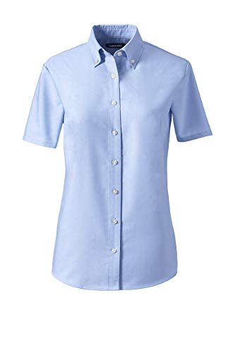 Lands' End School Uniform Women's Short Sleeve Oxford Dress Shirt Blue