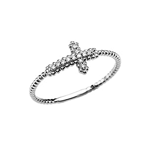 14k White Gold Dainty Diamond Sideways Cross Beaded Ring