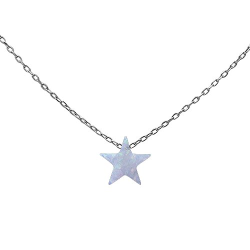 Lab Created White Opal Star .925 Sterling Silver Pendant Necklace (Created Lab Silver Star)