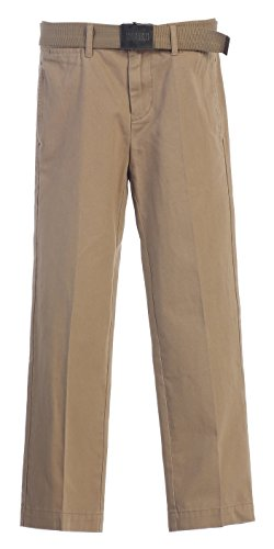 Gioberti Boys Belted Flat Front Twill Pants, Khaki, 12 (Flat Front Twill Trousers)