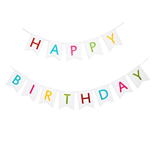 [Keira Prince Happy Birthday Banner, Colorful Vibrant Letters on White Bunting. Classy Multicolored Party Decorations] (Glamour Personalized Birthday Banner)