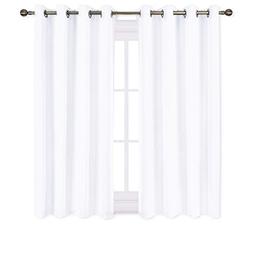 NICETOWN 50% Blackout White Curtain Set, Modern Design Solid Grommet Draperies/Drapes for Basement & Nursery Room (2 Panels, 52 Inch Wide, 45 Inch Long) ()