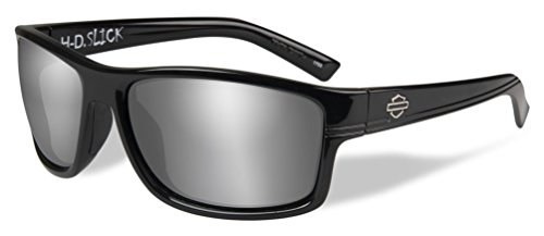 Harley-Davidson Men's Slick Silver Flash Sunglasses, Gloss Black Frames - Heads Sunglasses Large X Wiley