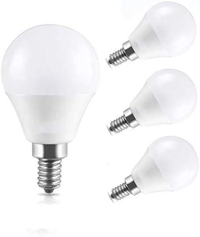 ILAMIQI G45 Candelabra Led Light Bulb Dimmable 6W Chandelier E12 Base 6000K White Candle Light for Ceiling Fan LED Base Bulb Chandelier Bulb 4 Pack