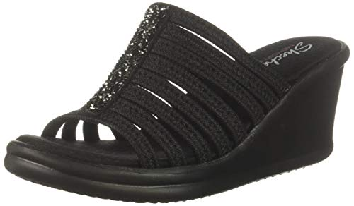 (Skechers Women's Rumblers Galore-Rock Glitter Multi-Strap Slide Wedge Sandal, Black, 10 M US)