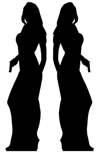 Secret Agent (James Bond Style) Girl Double Pack - Silhouette Lifesize Cardboard Cutout / Standee / Standup (Bond James Girls)
