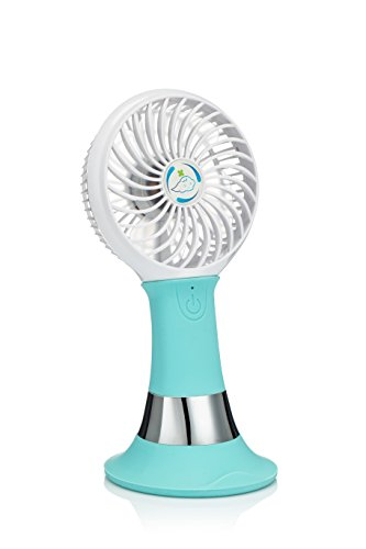 Rechargeable Mini Electric USB Fan Portable with LED Light (Blue) - 4