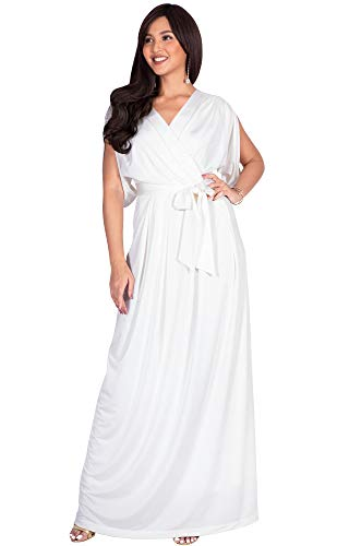 KOH KOH Plus Size Womens Long Semi-Formal Short Sleeve V-Neck Full Floor Length V-Neck Flowy Cocktail Wedding Guest Party Bridesmaid Maxi Dress Dresses Gown Gowns, Ivory White 2XL 18-20 (Floor Gown A-line Length)