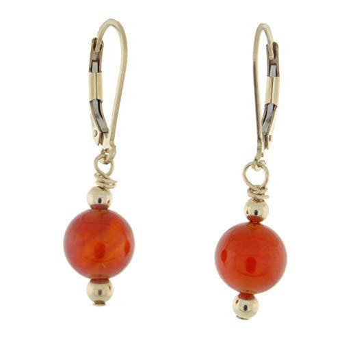 14K Gold-filled 8mm Gemstone Bead Dangle Lever Back Earrings, Carnelian (14k Earrings Carnelian)