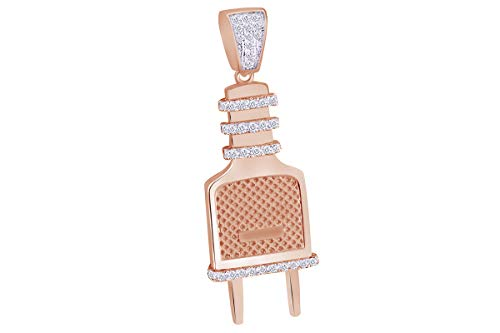 - Christmas Sale 1/4 Cttw White Natural Diamond Iced Out Hip Hop Jewelry Switch Plug Pendant In 14K Solid Rose Gold (0.25 Cttw)