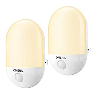 OMERIL Night Light for Kids-2 Packs Plug in Night Lights with Auto Dusk to Dawn Photocell Sensor, Baby Night Light for Kids, Children's Room, Hallway, Nurseries, Stair-Warm White Light.