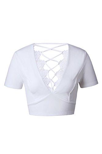 Camiseta De Mujer De Manga Corta De Verano Venda Crop Tops White