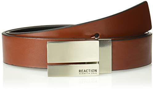 Kenneth Cole REACTION Men's Reversible Plaque Buckle Belt, cognac/black, -