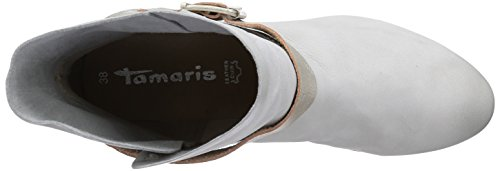 Tamaris 25333, Women's Unlined biker boots short length Multi-coloured - Mehrfarbig (Ivory/Silver 495)