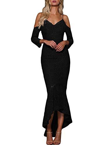 Arainlo Womens Bodycon Long Hi Low Mermaid Cocktail Evening Dresses Bare Shoulder Spaghetti Straps 3/4 Sleeve Party Vintage Formal Dresses Black M ()