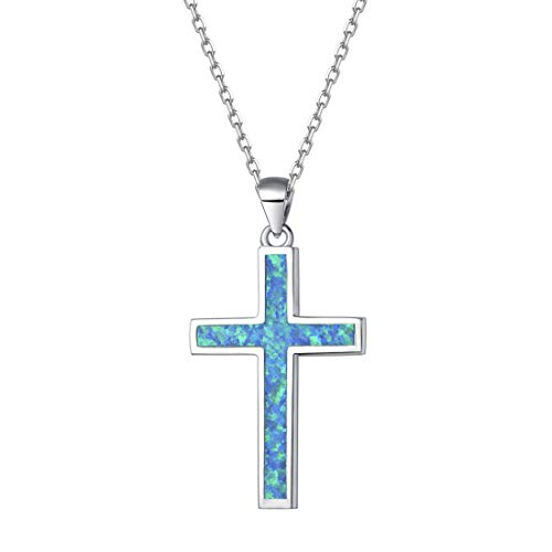 Opalmaster 925 Sterling Silver Cross Pendant Necklace Blue Created Opal Danity Jewelry for Women Girls