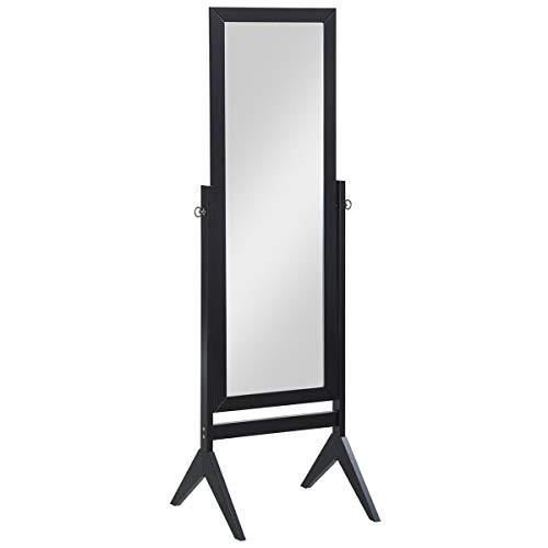 Giantex Bedroom Wooden Floor Mirror Full Length Cheval, 100% Solid Oak Wood Frame Rustic Rotary Swivel Mirrorred Stand Rectangular Mirrors, Free Standing Home Floor Dressing Mirror, Black (Mirror Swivel Rectangular)