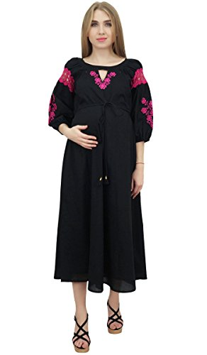 Mamans Bimba Robe Beige Brodé Cordelette Maternité Vêtements De Nuit Infirmiers Noir