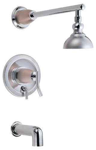 Danze D504054CSN Sonora Single-Handle Tub and Shower Faucet, Chrome and Satin Nickel