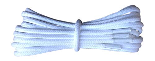 Thin Round White Waxed Cotton Shoelaces - 18'' / 45 cm length - Thin laces for dress shoes and boots. by Fabmania (Image #5)