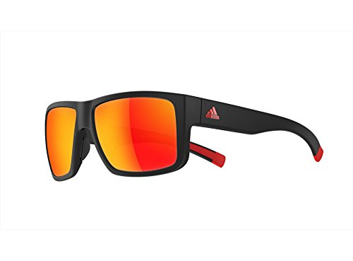 adidas Mens Matic a426 6055 Rectangular matte black/red mirror lens (matte black red/red mirror lens, one size)