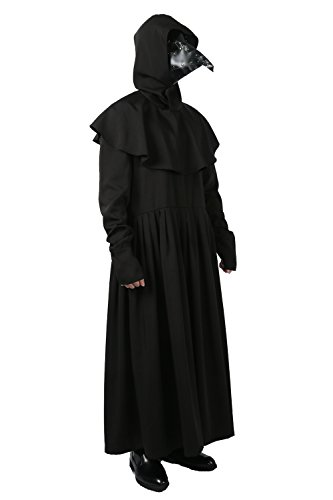 Plague Dr Black Costume Deluxe Cosplay Outfit Mask (Optional) Masquerade L (Doctor Outfit)