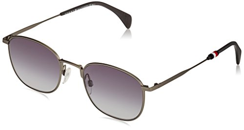 Tommy Hilfiger Metal Rectangular Sunglasses 52 0R80 Semi Matte Dark Ruthenium 9O dark gray gradient lens by Tommy Hilfiger