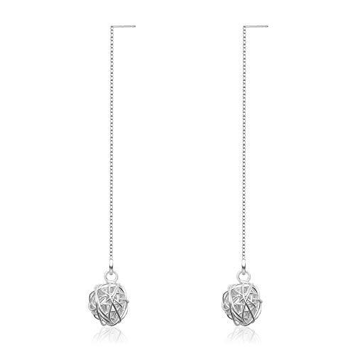OwMell Love Knot 925 Sterling Silver Wire Ball Drop Earrings Threader Tassel Earrings Long Chain Silver Dangled Earrings ()