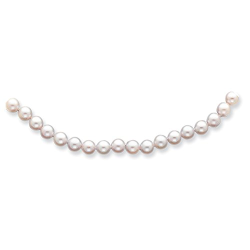 Mia Diamonds 14k Solid Yellow Gold -7mm White Saltwater Akoya Cultured Pearl Necklace -20
