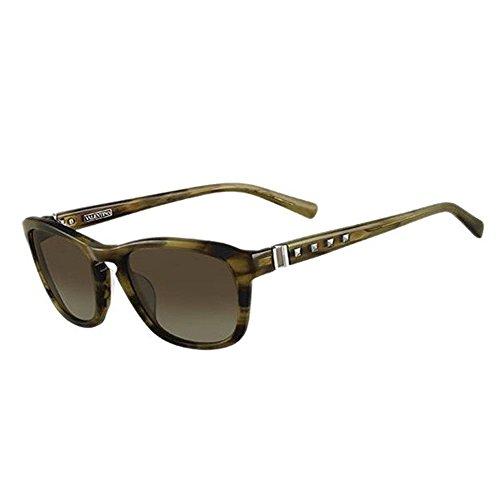 Valentino VL 631S 305 Brown Striated Plastic Sunglasses Brown Gradient Lens