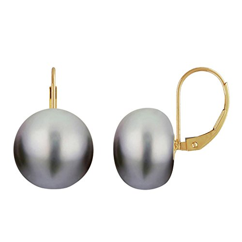 Grey Pearl Earrings Leverback Gold Plated Silver Genuine Button Freshwater Pearls Cultured 13mm ()