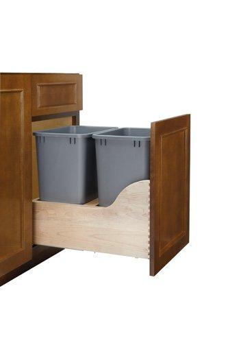 Double Soft-Close w/ Tandem Heavy Duty Slides Waste Containers - 4WCSC-1835DM-2 - 35 QT - Natural by Rev-A-Shelf (Image #3)