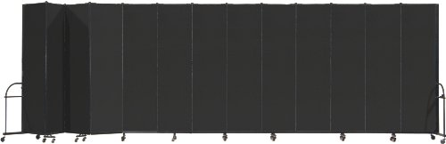 Screenflex Heavy Duty Portable Room Divider (HFSL7413-DX) 7 Feet 4 Inches High by 24 Feet 1 Inches Long, Designer Black Fabric by Screenflex