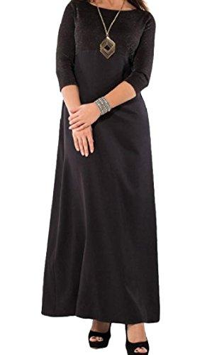 Coolred-femmes Patchwork Avant Fermeture Éclair, Plus La Taille 3/4 Robe De Style Manches 4xl Noir