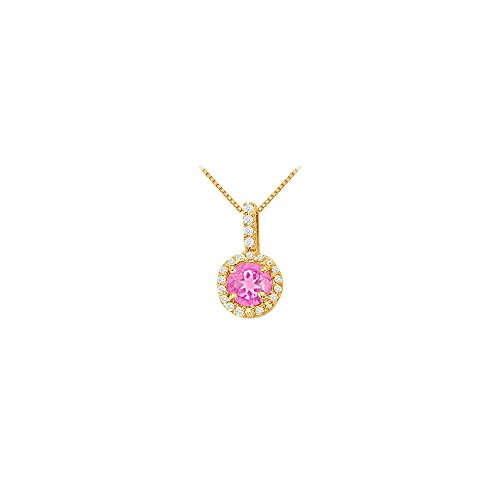 Pink Sapphire Vermeil Necklace (Fancy Round Created Pink Sapphire and Cubic Zirconia Halo Pendant in 14K Yellow Gold)