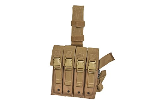 Classic Army Airsoft GI Khaki 4-Pocket Thigh Pouch for MP5 Magazines – Quick Detach Buckles in Airsoft Quad Thigh Rig